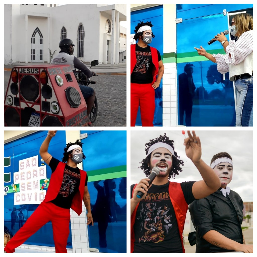 Secretaria de saúde realiza ação de conscientização sobre COVID 19 em parceria com artista circenses.