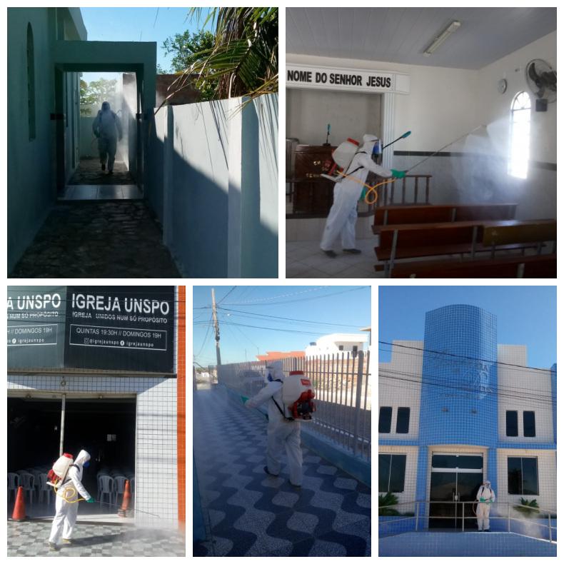 Secretaria municipal de Saúde realiza higienização e desinfecção nos templos religiosos.