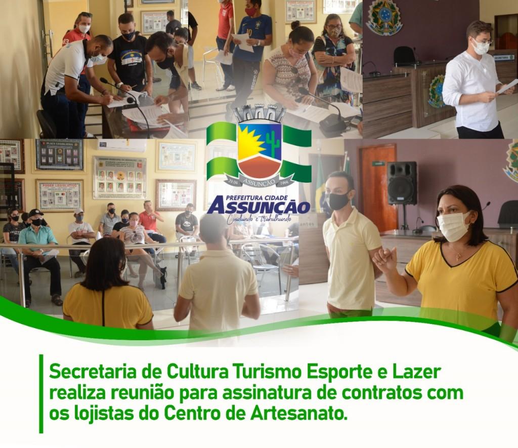 Secretaria de Cultura, Esporte e lazer realiza reunião para assinatura de contratos com lojistas do Centro de Artesanato